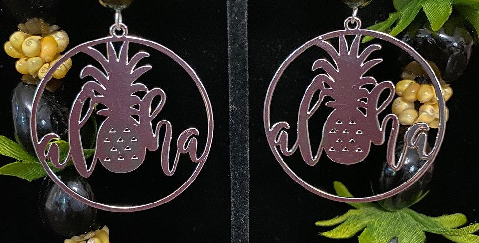 Silver Aloha Pineapple Hoop Earrings