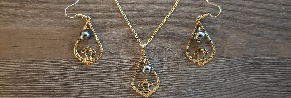 Turtle Sunset Earring and Necklace Set w/ Dark Grey Pearls