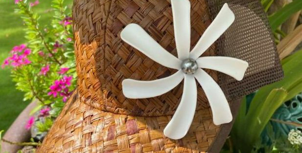 Brown Lauhala Hat with Tiare Flower