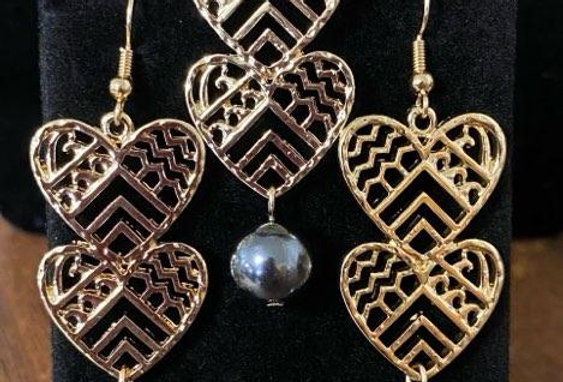 Double Tribal Hearts Earring and Necklace Set
