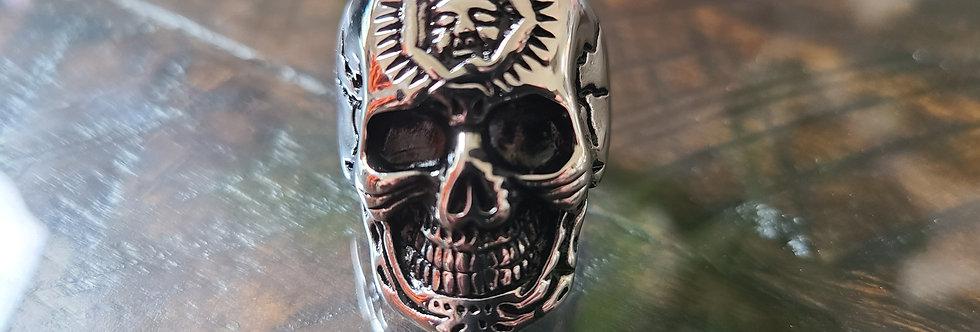 Large Silver Skull Mens Ring