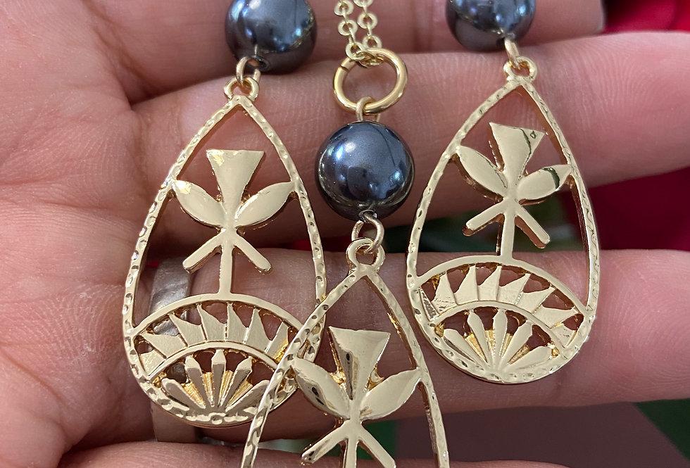 Hawaiian Flag Kanaka Oval Earring and Necklace Set