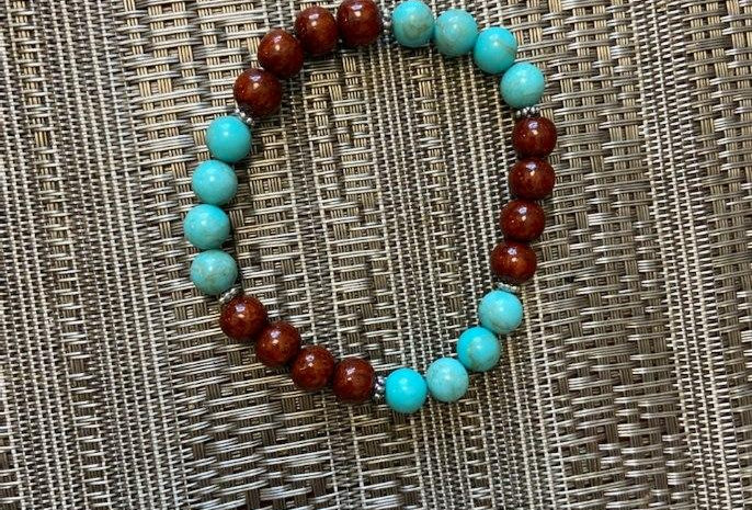 Acacia Wood Bracelet with Turquiose Beads (8-8.5in)