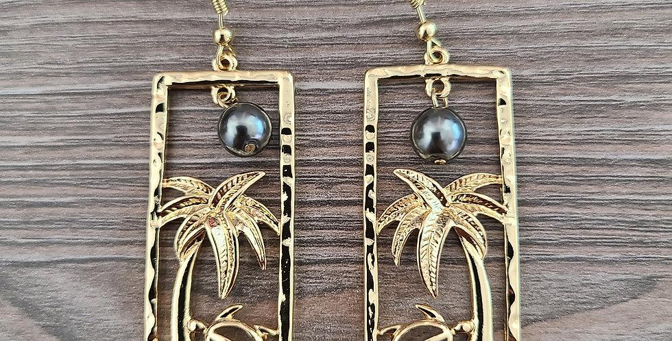 Palm and Turtle (Honu) Earrings