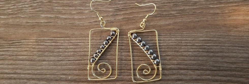 Gold plated Spiral Wire Earrings w/ Black Fresh Water Pearls