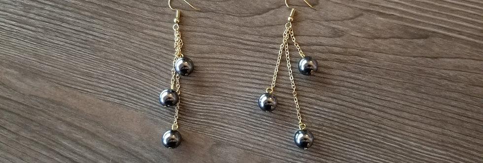 Triple Chain Dangle Earrings w/ Pearls