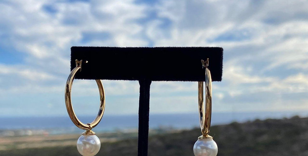 "White Pearl 1"" Hoop Earrings (Gold Filled)"