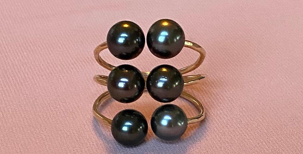 Tahitian 6 Pearl Gold Filled Ring