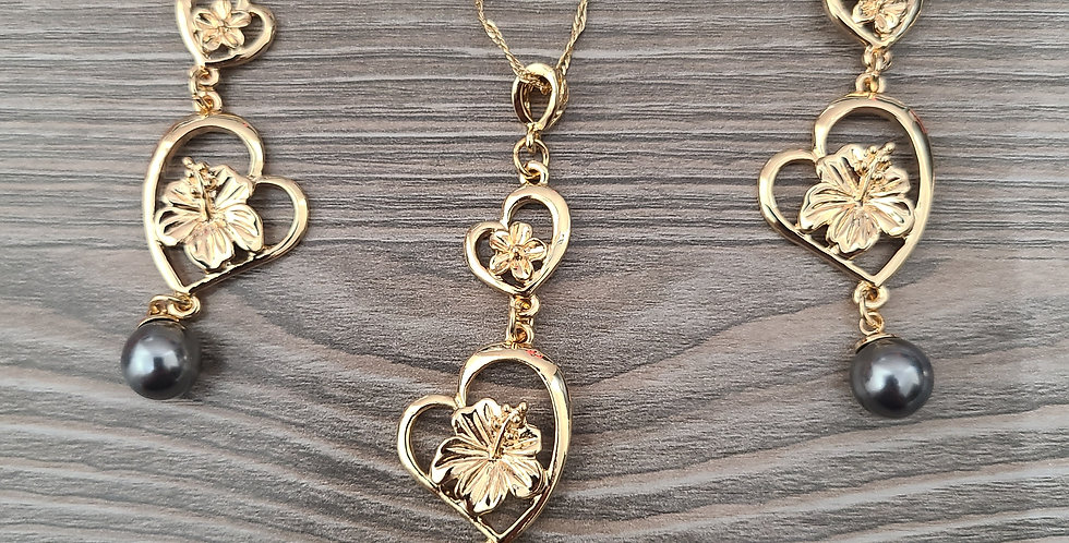 Double Heart Twisted Necklace Chain w/Pearl and Earring Set (24-26in)