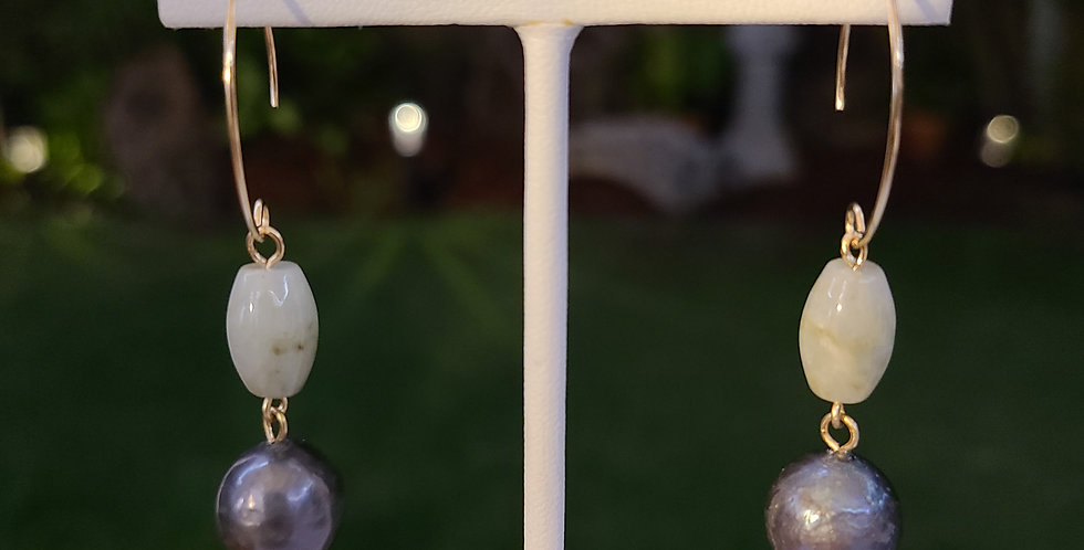 Jade Oval Earrings with Edison Pearls (Gold Filled)