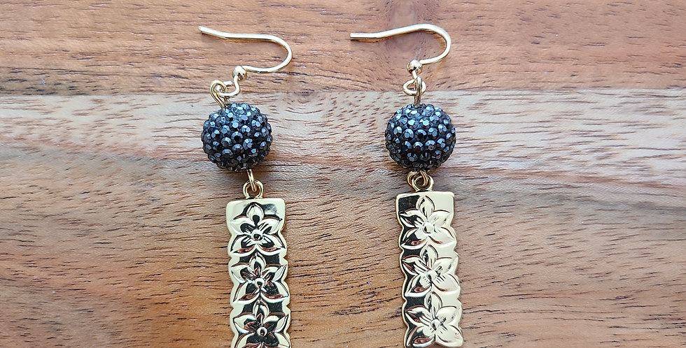 Black Swarovski Pearl Plumeria Short Bar Earrings