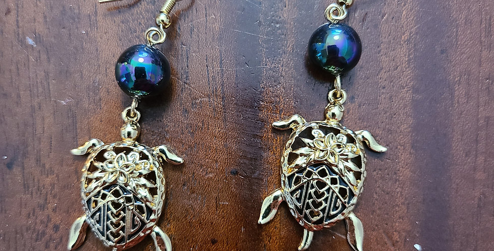 Turtle Back Plumeria Earrings