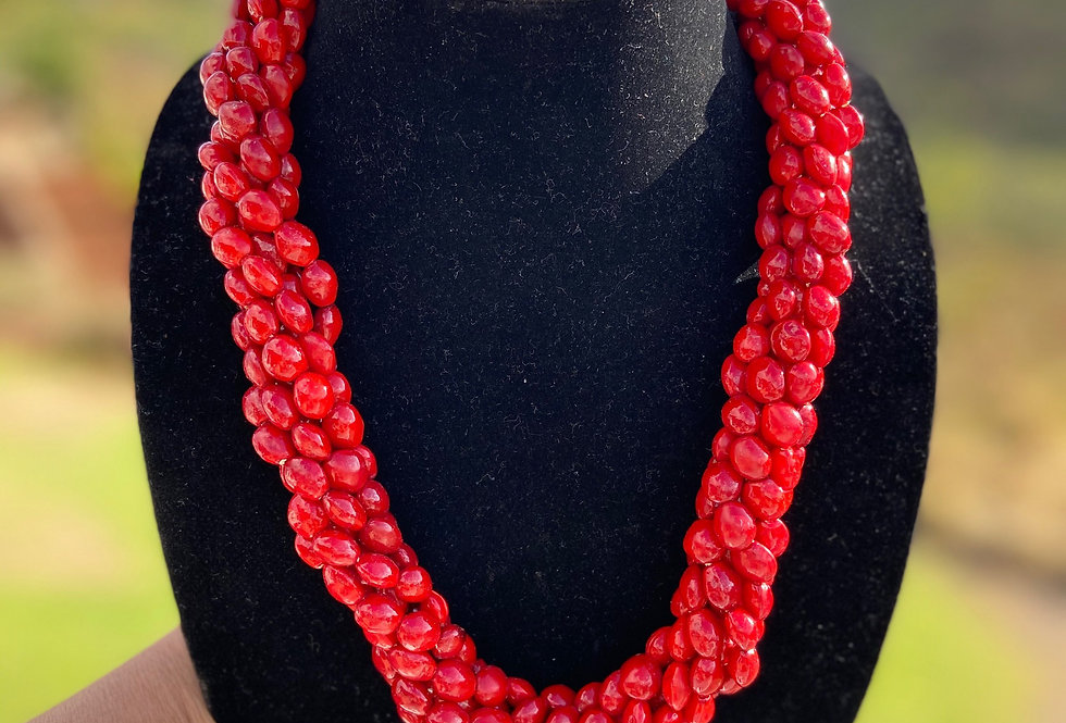 Red Wili Wili Seed Necklace (22in)