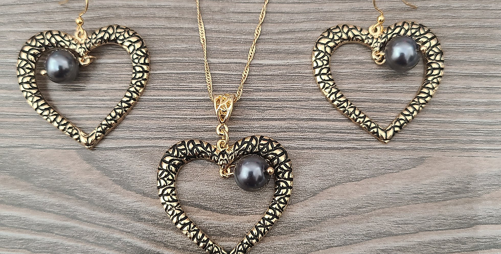 Tribal Heart Twisted Necklace Chain w/Pearl and Earring Set (24-26in)