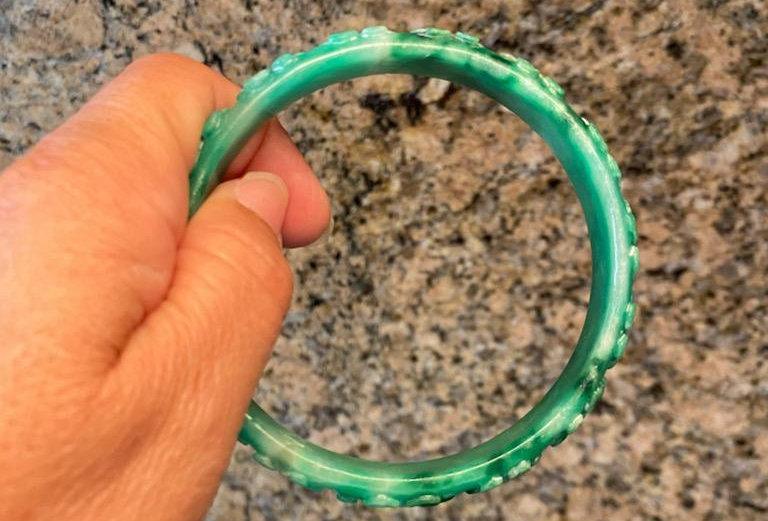 """8.75"""" Carved Green Jade Bracelet (One Random Bangle)"""