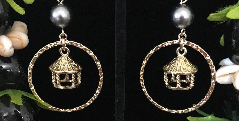 Samoan Fale Hoop Earrings w/ Pearls