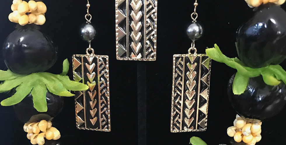 Tribal Rectangle Earring and Necklace Set