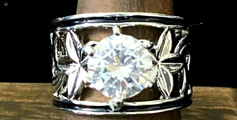 Plumeria Ring Silver plated w/ Cubic Zirconia