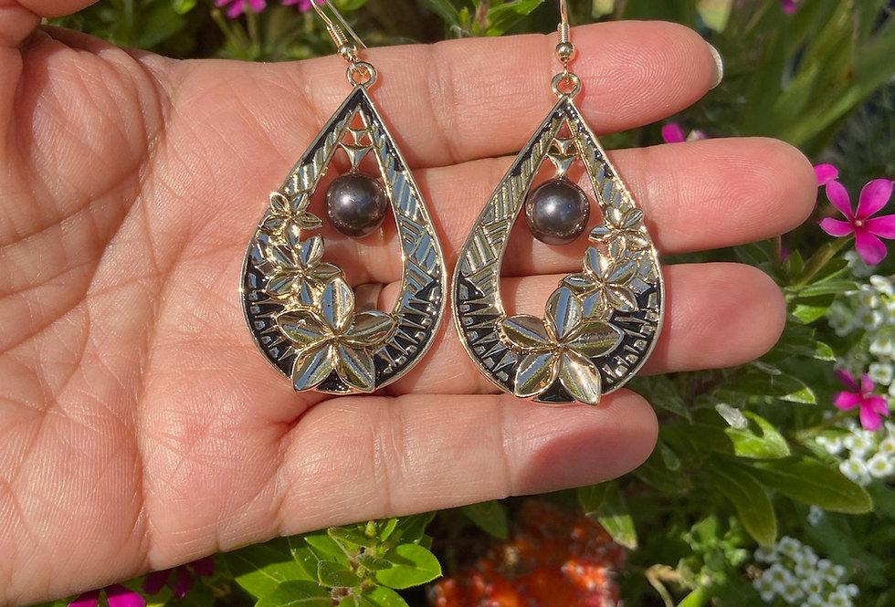 Plumeria Tribal Tear Drop Earrings
