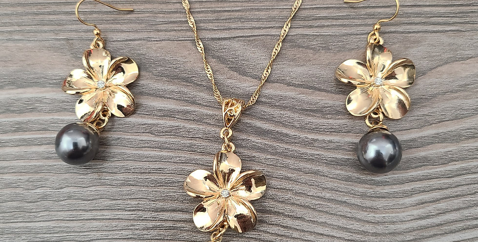 Plumeria Drop Twisted Necklace Chain w/Pearl and Earring Set (24-26)