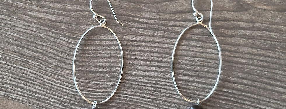 Sterling Silver Tear Hoop Earrings w/ Black Fresh Water Pearls