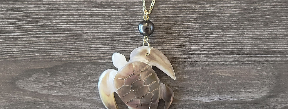 Large Turtle Honu Mother of Pearl Shell Necklace
