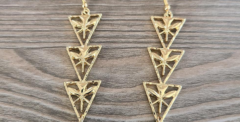 Triple Triangle Kanaka Flag Earrings