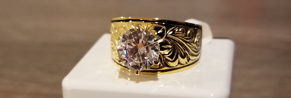 12MM Gold Plated Sterling Silver Heirloom Ring w/Cubic Zirconia