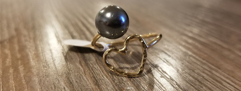 Adjustable Heart Ring w/ Mother of Pearl (Gold Filled)