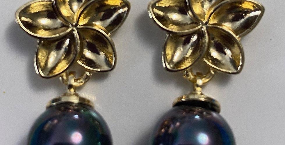 Plumeria Pearl Drop Stud Earrings