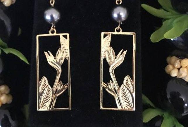 Birds of Paradise Earrings w/ Pearls