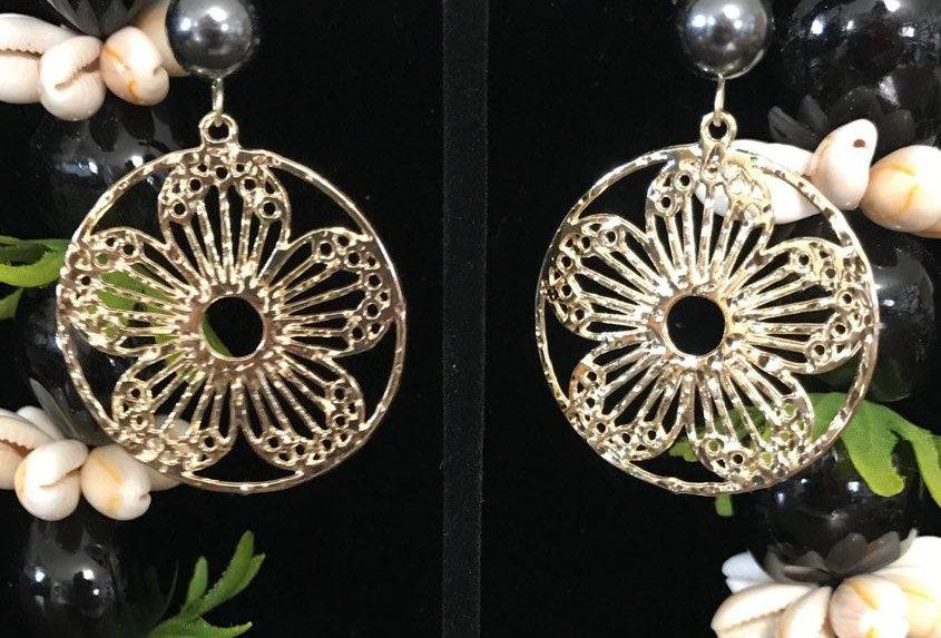 Plumeria Circle Earrings