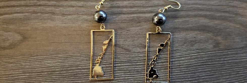 Hawaiian Island Earrings w/ Pearls