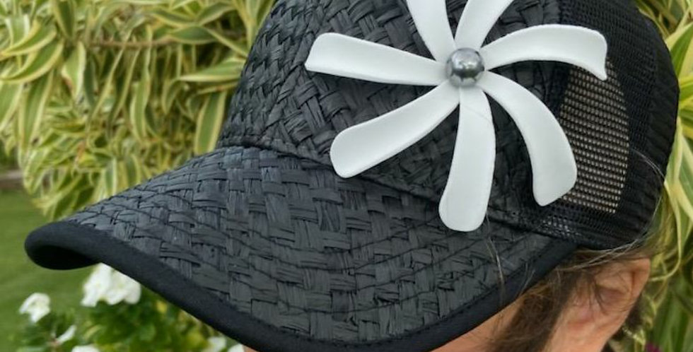 Black Lauhala Hat with Tiare Flower