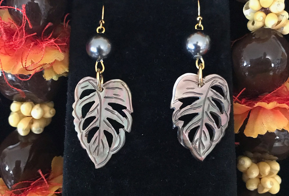 Monstera Leaf Mother of Pearl Shell Earrings