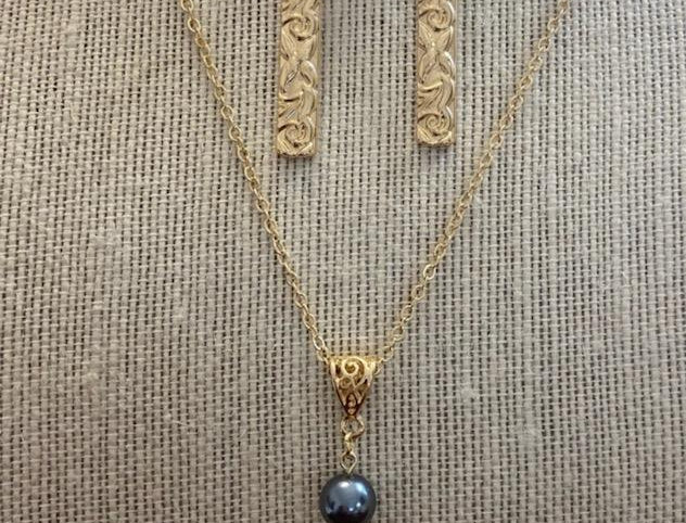 Heirloom Bar Necklace w/Pearl and Earring Set