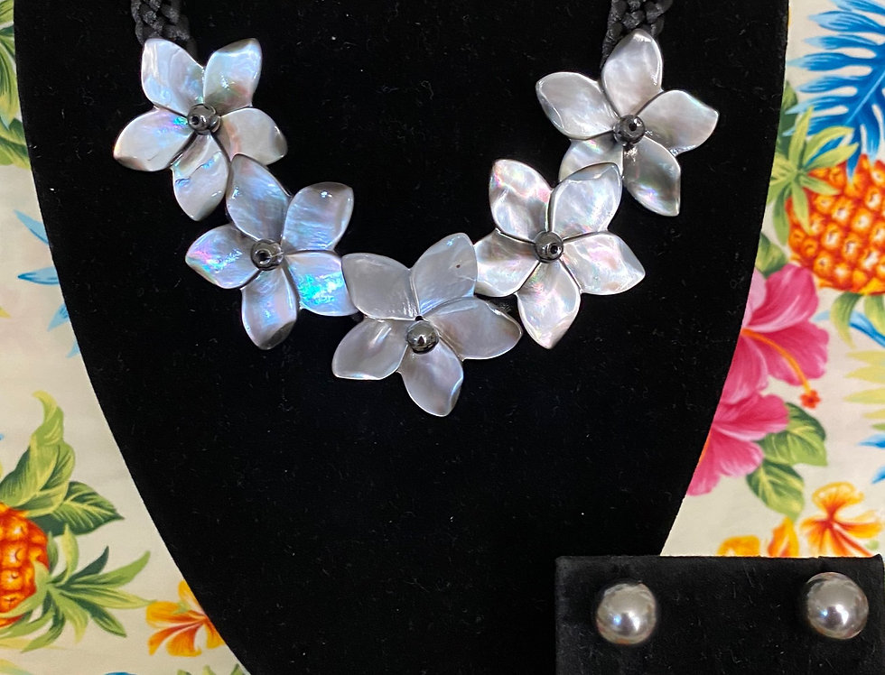 Plumeria Mother of Pearl Shell Necklace & Optional Studs Set (20in)