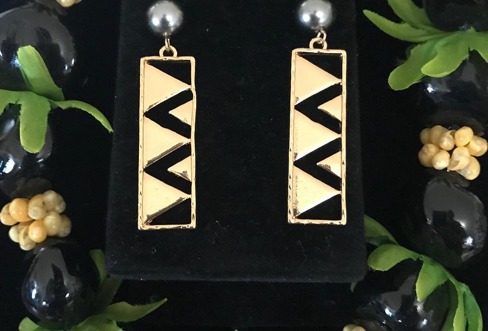Hawaiian Coat Pattern Bar Earrings