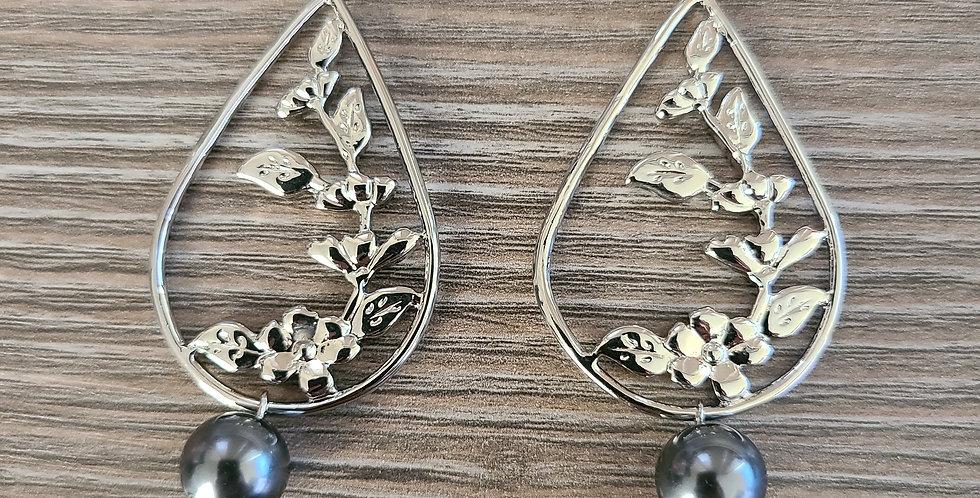 Silver Plumeria Tear Drop Hoop Earrings