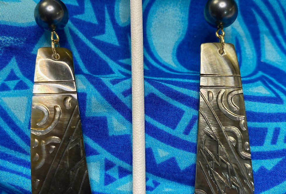 Engraved Trapezoid Bar Monstera Mother of Pearl Shell Earrings w/ Pearls