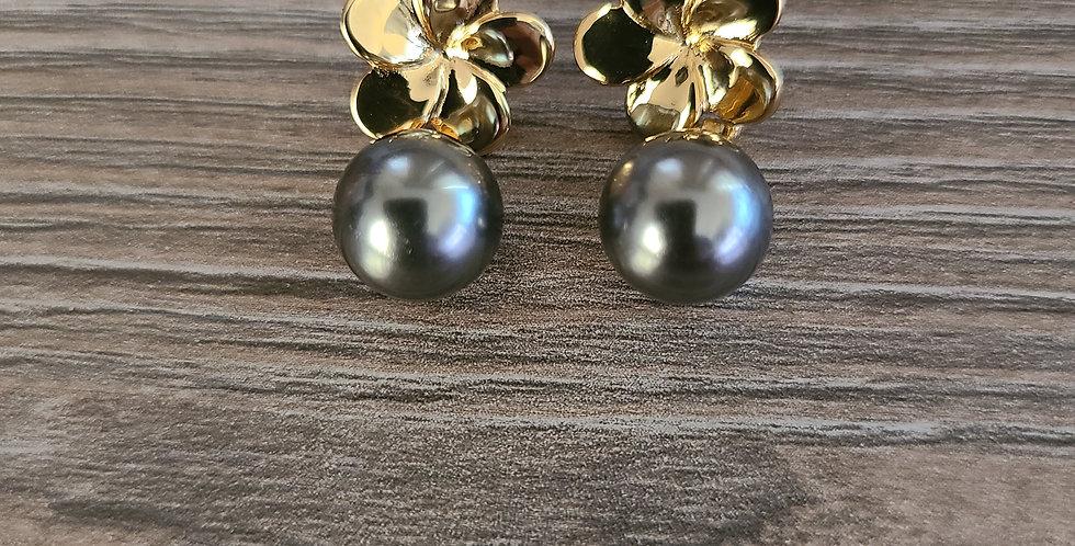 Rounded Plumeria Pearl Drop Stud Earrings