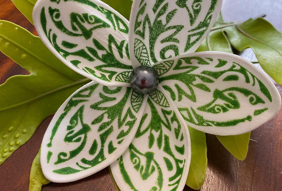 Green Polynesian Print Plumeria Mother of Pearl Flower
