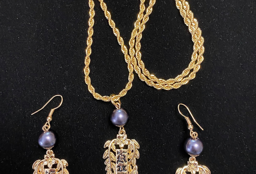 Kuuipo Earring and Necklace Set w/ Purple Pearls
