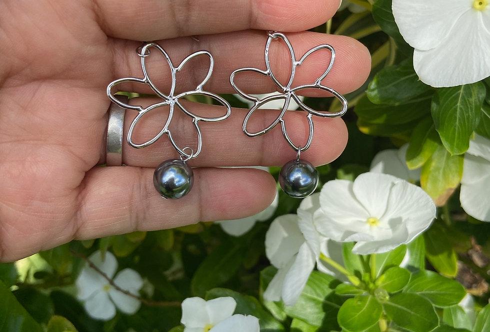 Silver Flower Cut Out Earrings