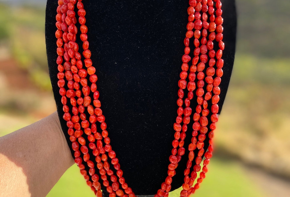 Red Wili Wili Seed Stranded Necklace (30in)