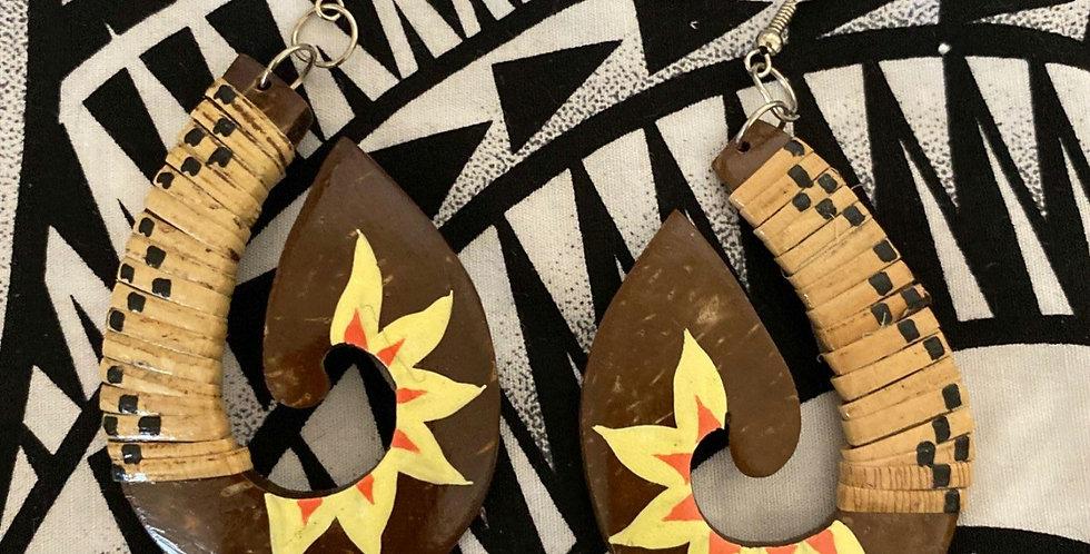 Coconut Lauhala Hook Earrings