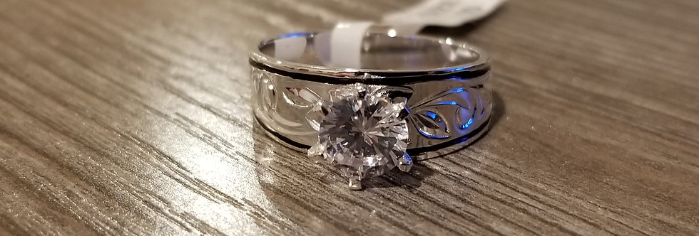 8MM Sterling Silver Heirloom Ring w/Cubic Zirconia
