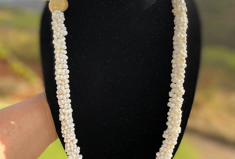 White Popcorn Shell Necklace (30in)