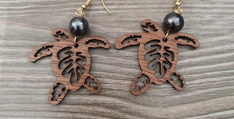 Honu Monstera Sandlewood Earrings