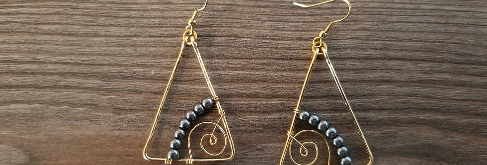 Gold Spiral Triangle Wire Earrings w/ Black Fresh Water Pearls